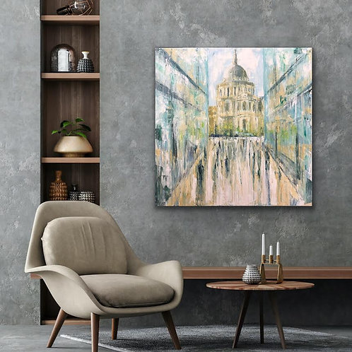 Reflections of  St. Pauls Cathedral by Jane Vaux 100x100cm