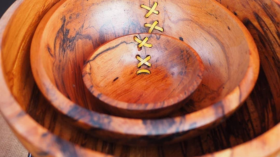 Woodturner claimed wood Honey Fungus Beech nest of bowls with leather stitching