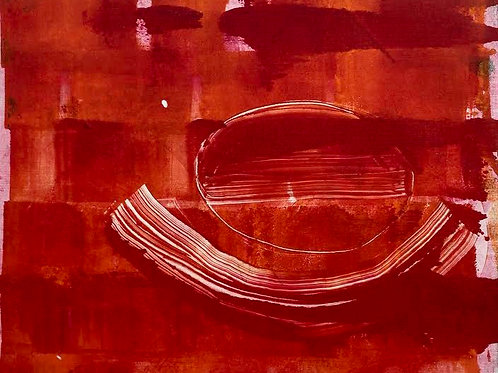 Red Abstract by Rennie P 50x40cm