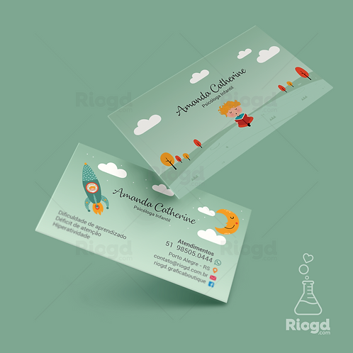 Cartão de Visita Personalizado para Psicologia Infantil Dreamer