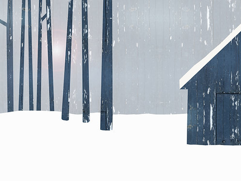 Blue Cabin by Rennie P 50x40cm