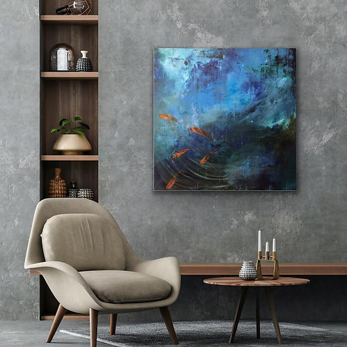 Koi Fish by Jane Vaux 100x100cm
