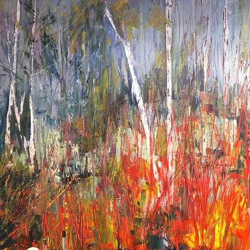 Vibrant Woods 1 by Jane Vaux 100x100cm