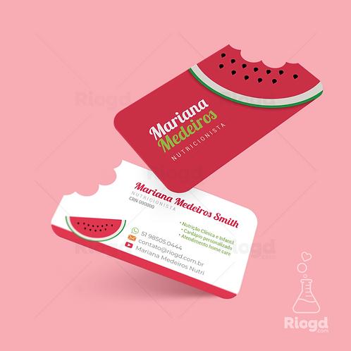 Cartão de Visita Nutricionista com Corte Especial Melancia