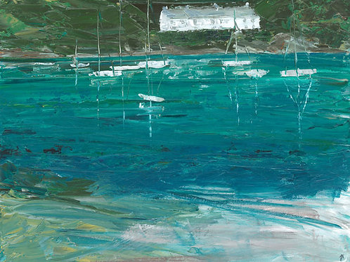 Boat Reflection on the Yealm by Jane Vaux 50x40cm