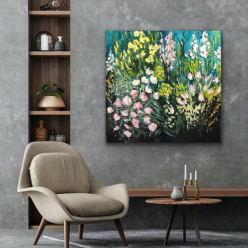 Chiswick House Flowers by Jane Vaux 100x100cm