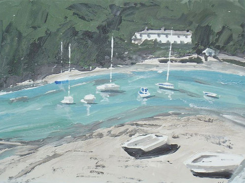 Boats on the Yealm by Jane Vaux 50x40cm