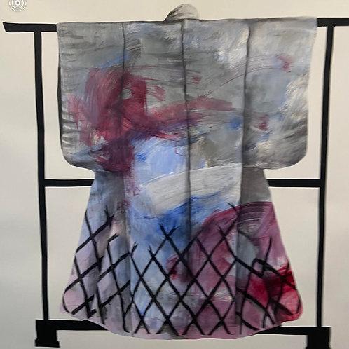 Kimono by Humphrey Bangham, Charcoal on paper 147x147cm