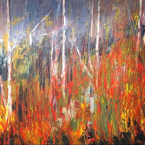 Vibrant Woods 2 by Jane Vaux  100x100cm