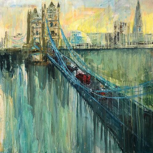 Tower Bridge by Jane Vaux 100x100cm