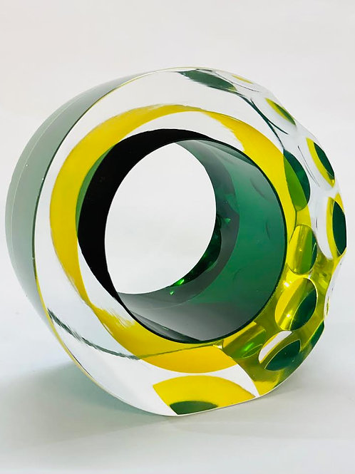 Glass Slice yellow and green by Graeme H
