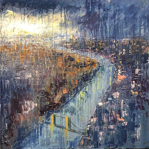 London from the Sky by Jane Vaux 90x90cm