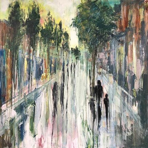 Devonshire Road by Jane Vaux 100x100cm