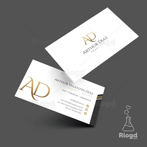 Cartão de Visita Personalizado para Advogados Golden White