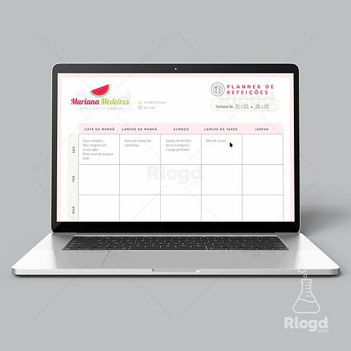 Planner de Refeições Digital - Preenchível