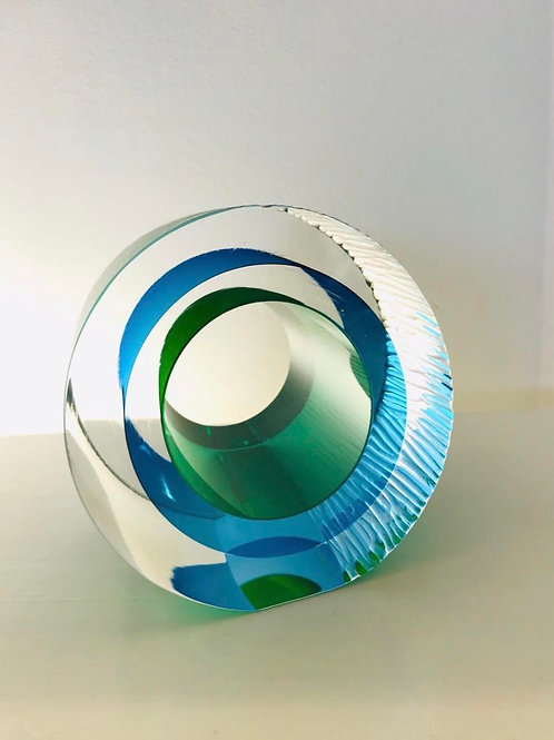 Small Cut Glass green and blue by Graeme H
