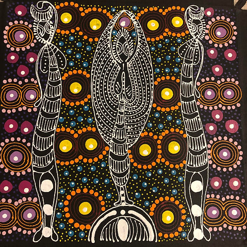 Dreamtime Sisters, Colleen Bird Wallace 30x30cm