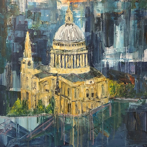 Pauls Cathedral by Jane Vaux 90x90cm