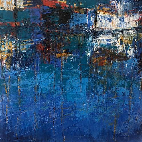 Harbour Reflections by Jane Vaux 45x45cm