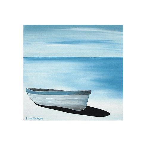 Blue Boat by Suzanne W 30x30cm