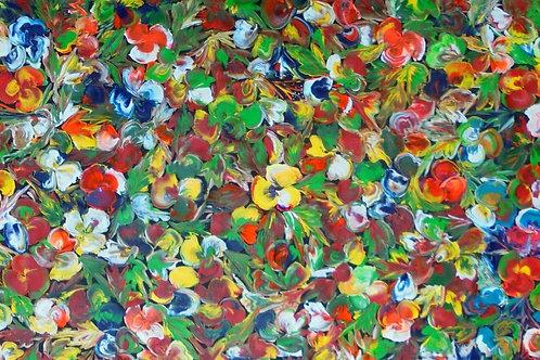 Wild Bush Flowers by Tess M 130x80cm