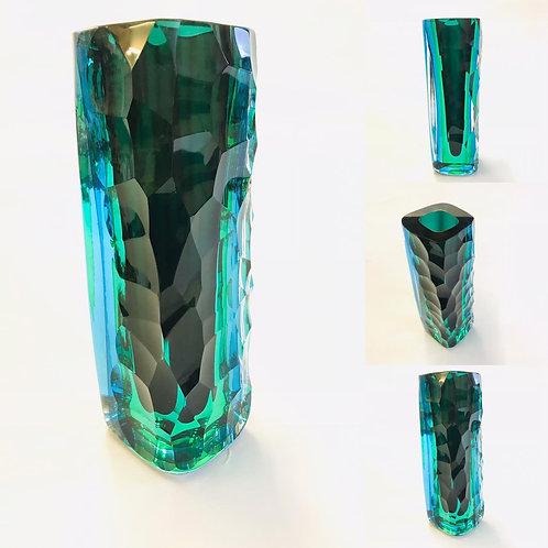 Tri Colour Deep Cut Vase by Graeme Hawes