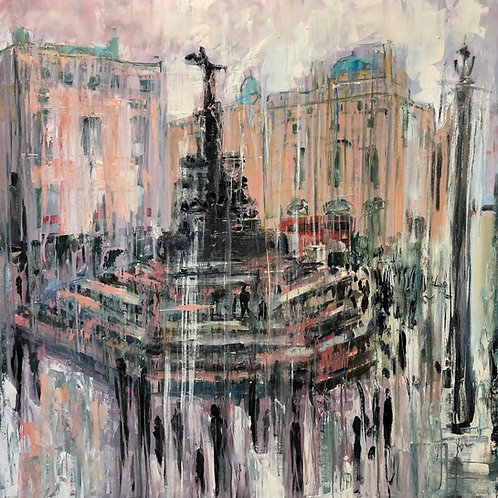 Piccadilly Circus by Jane Vaux 90x90cm