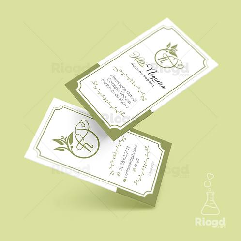 Cartão de Visita Personalizado para Nutricionistas Verniz Relevo Vegan Naturale