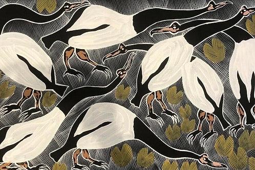 Eddie Blitner, Magpie Geese 108x65cm