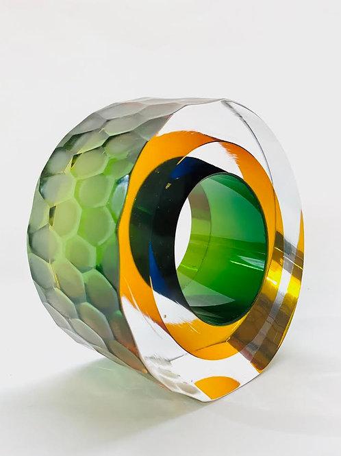 Glass Slice yellow, green & blue by Graeme H