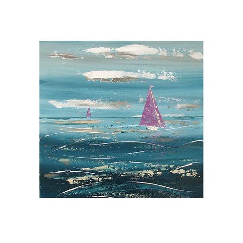 Purple Boats by Suzanne W 30x30cm