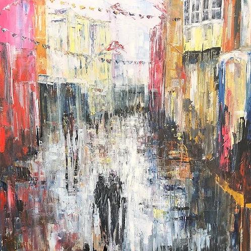 High Street  by Jane Vaux 90x90cm
