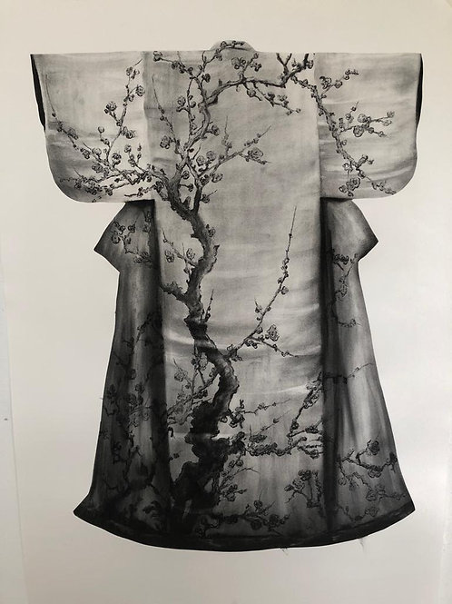 Kimono by Humphrey Bangham, Charcoal on paper 147x105cm