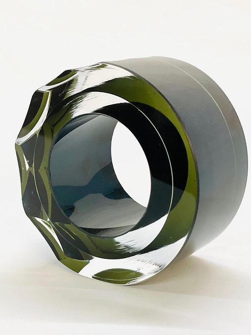 Glass Slice deep olive green by Graeme H