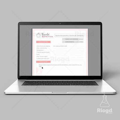 Ficha de Receitas Digital - Preenchível
