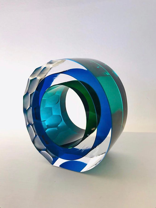 Glass Slice green and blue by Graeme H