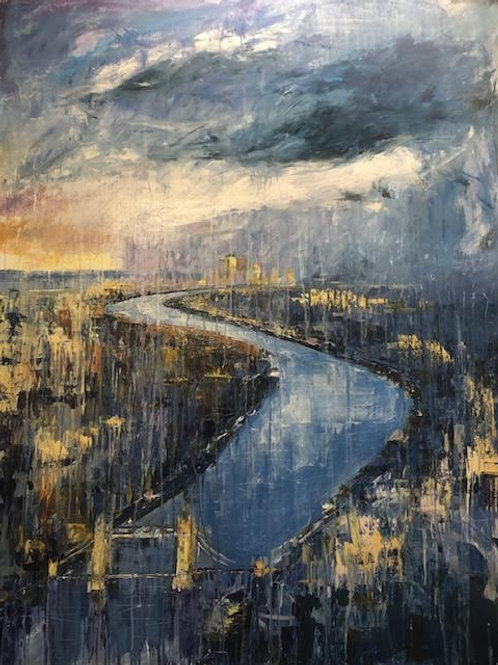 London from the Sky by Jane Vaux - by commission