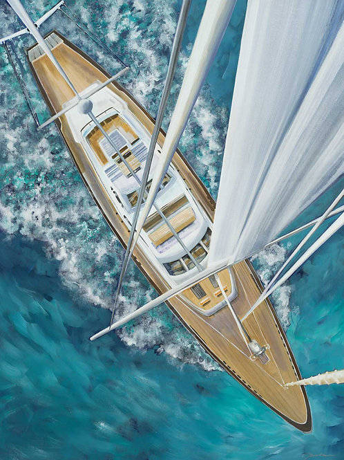 Sailing Around The World by Liz Jardine 40x30cm
