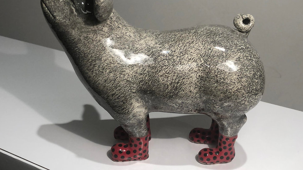 Pig Red Boots, ceramics by Jon D