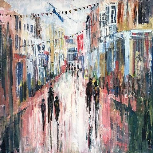 High Street by Jane Vaux 100x100cm