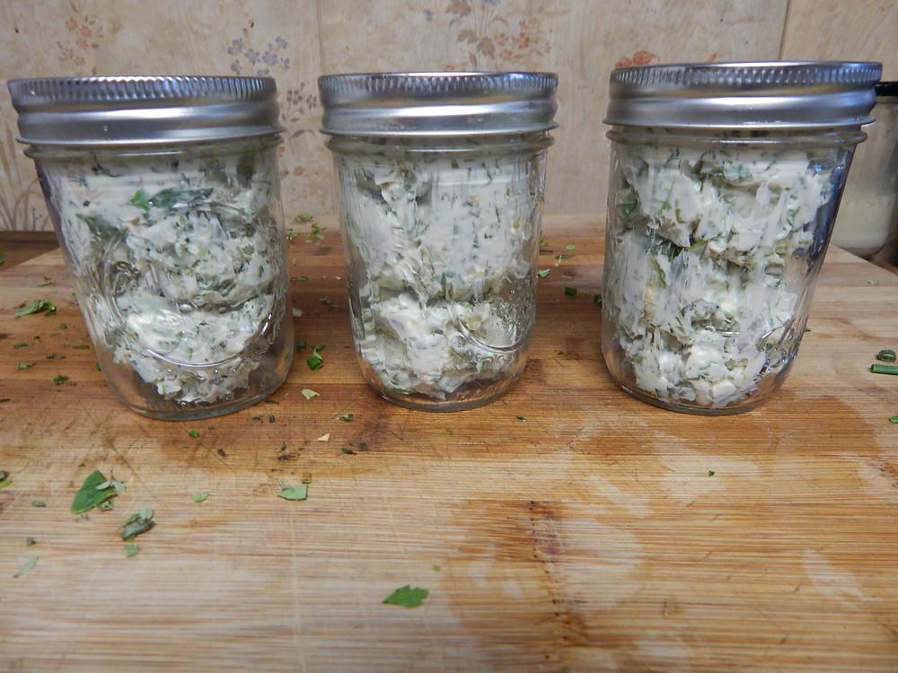 Storing herb butter