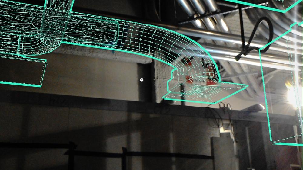 An augmented reality view of HVAC systems to be installed on site using Argyle