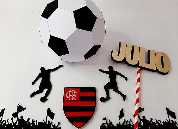 Topo de Bolo Flamengo bola 3d - Arquivo de Corte