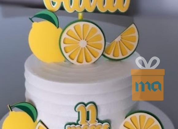 Topo de Bolo Frutas Limão Laranja - Arquivo de Corte
