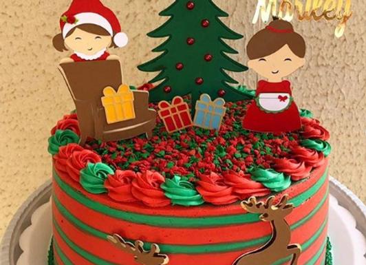 Topo de Bolo Natal Vovó e Neta - Arquivo de Corte