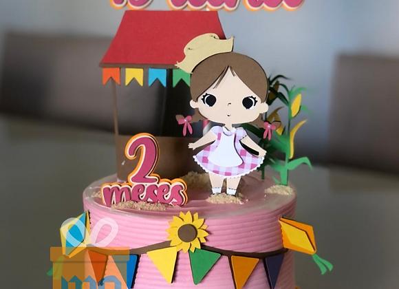 Topo de Bolo Festa Junina Cute - Arquivo de Corte