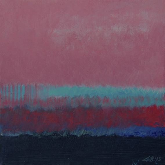 Red, Turquoise, and Black Sea, 12 x 12 inches, oil on canvas, 2014. Available.