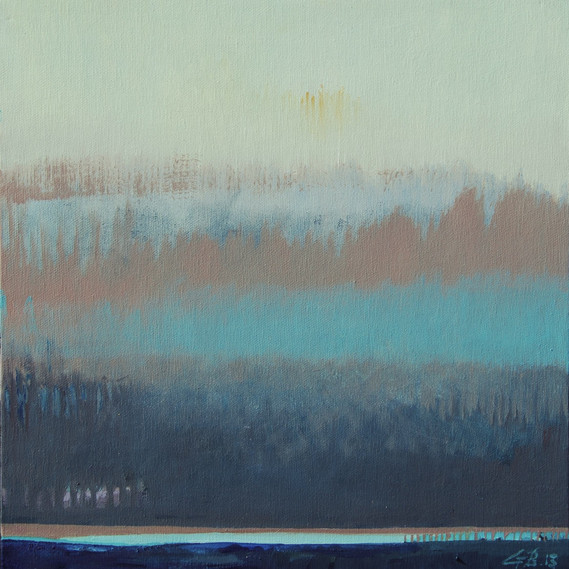 Little Aqueduct Over Teal Waters, 12 x 12 inches, oil on canvas, 2014. Available as a Giclée.