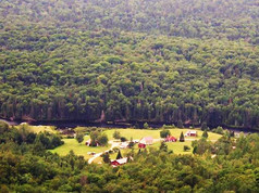 View of the cabins from Chimney Mountain