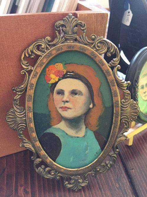 """Portrait In Contemplation"" Mini Original Oil Painting in Ornate Frame 5x8"